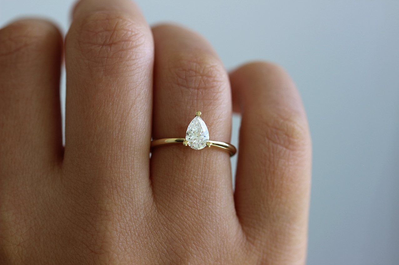 Pear engagement ring colorless diamond ring once about a time