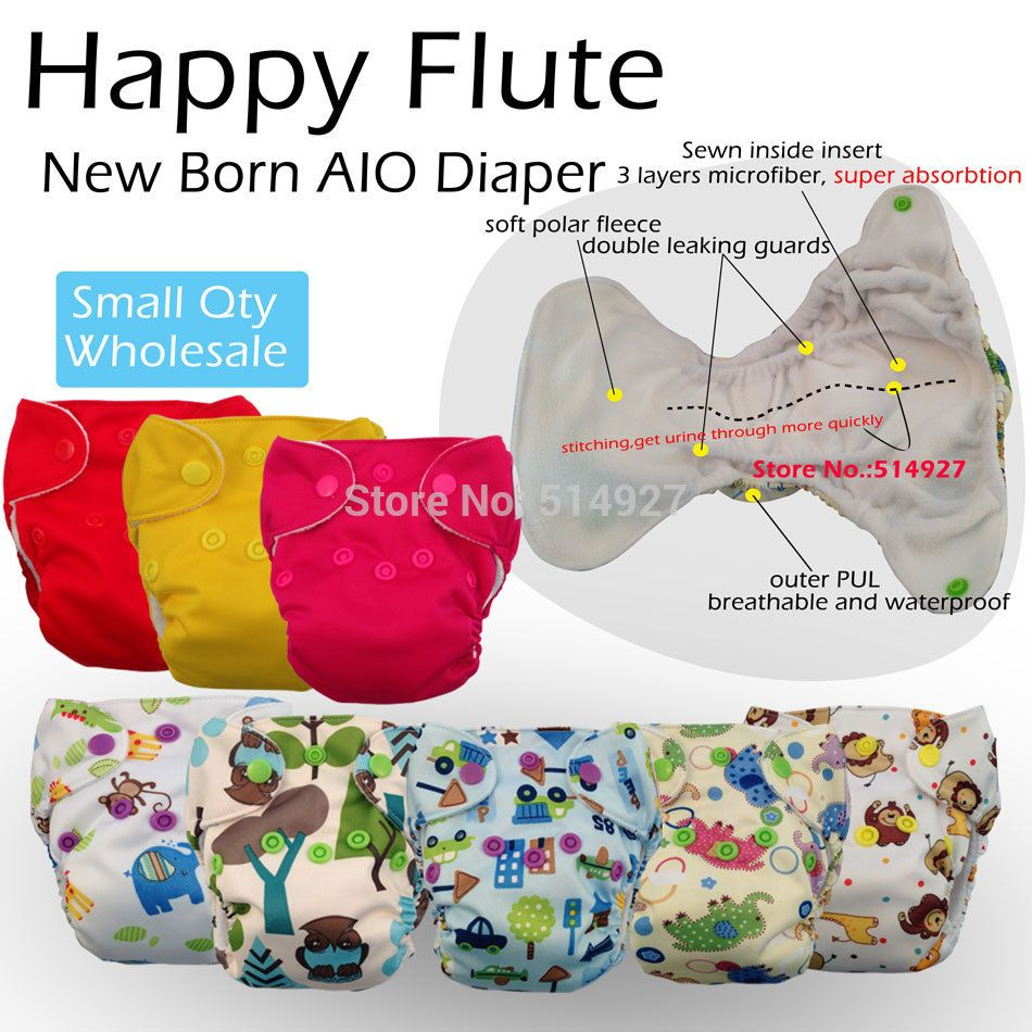 Happyflute newborn diaper,waterproof and breathable, all in one style (with a sewn in insert) alishoppbrasil