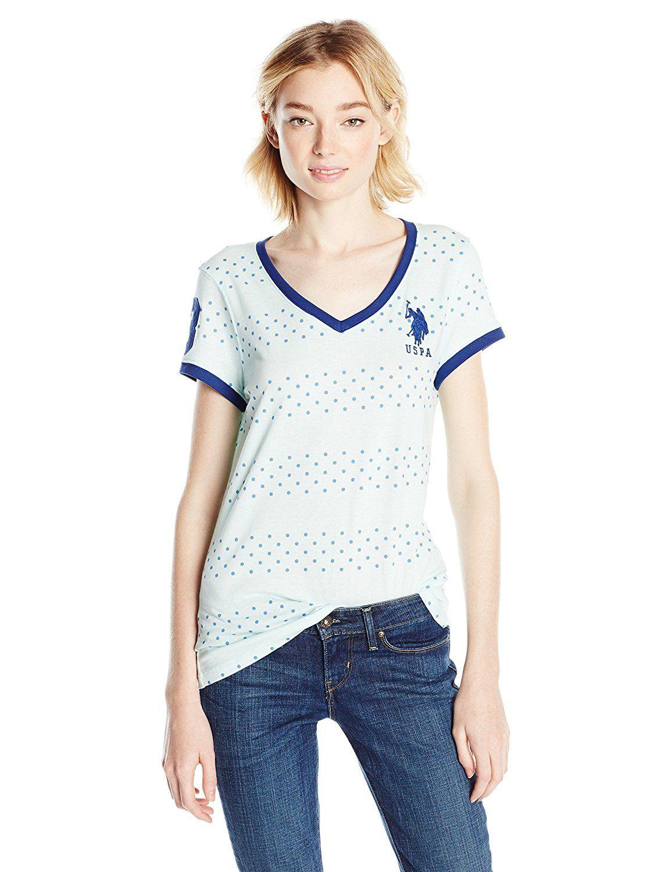U.S. Polo Assn. Juniors' Short-Sleeve Dot Stripe V-Neck T-Shirt >>> Check this awesome image  : Fashion