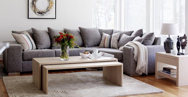 Canapé Gris Moderne Modèles Dangle Ou Droits Foncés Coussin - Formation decorateur interieur avec canape d angle contemporain cuir