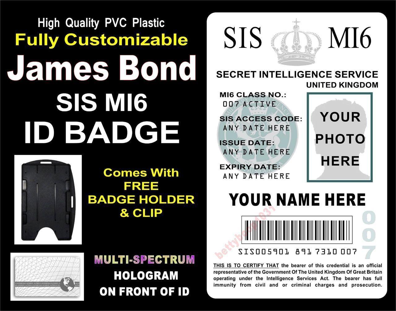 James Bond 007 Id Badge Card Custom W Your Photo Info Sis Mi6 Skyfall Ebay Id Badge James Bond Party James Bond