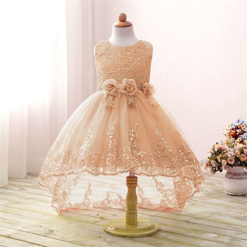 Fashion High Low S Summer Dress Long Tail Flower Party Children Wedding Bow Kids Dresses Princess Costume