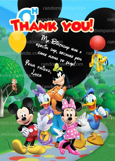 Mickey mouse thank you card mickey mouse clubhouse thank you card Digital file