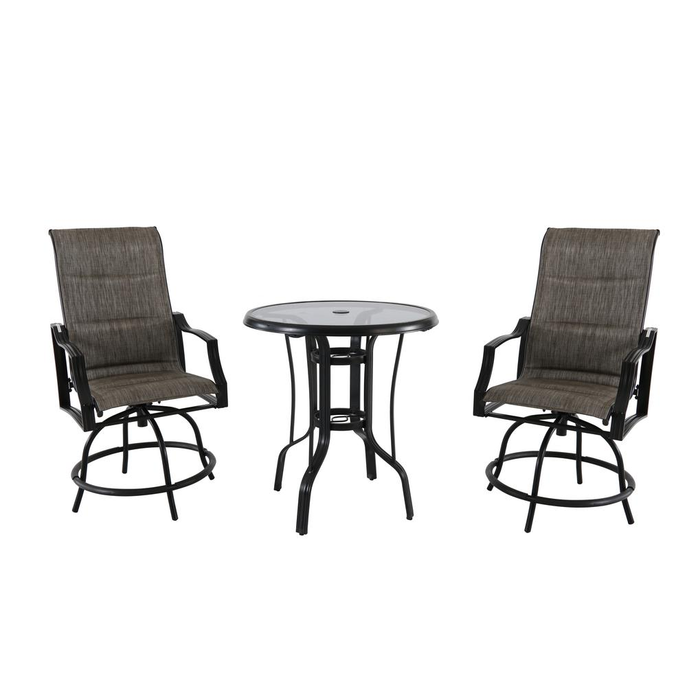 Hampton Bay Statesville 3-Piece Steel Outdoor Bistro Set