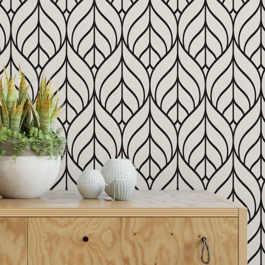Black And White Geometric Leaf Removable Wallpaper G148 27 Etsy Removable Wallpaper Wallpaper Accent Wall Wall Patterns