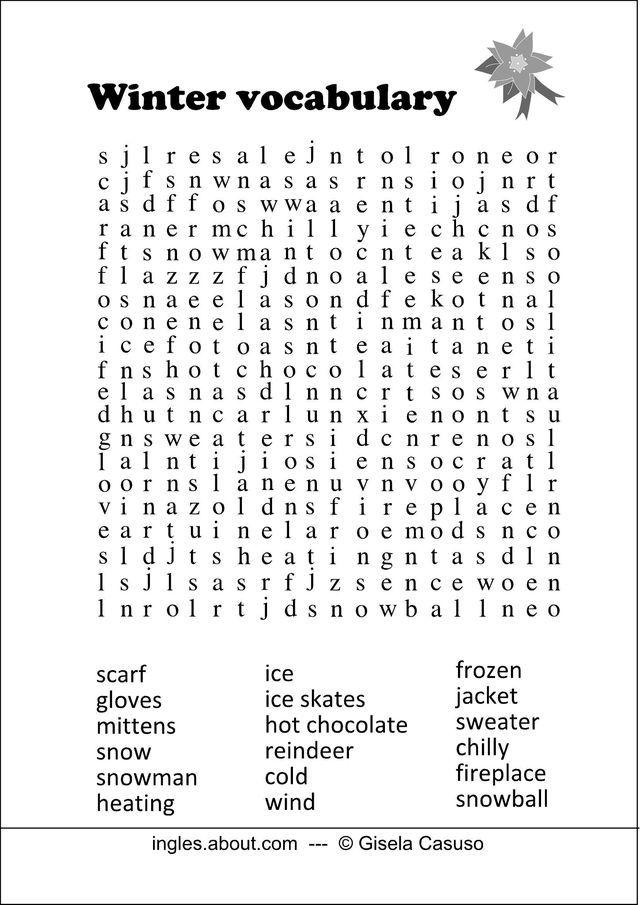 Sopa de letras navideña en inglés   Pinterest
