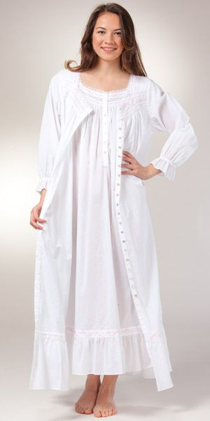 18acf4eb0b Eileen West Cotton Peignoirs - Cap Sleeve Gown   Robe Set - Chablis White -  shorten the robe sleeves!