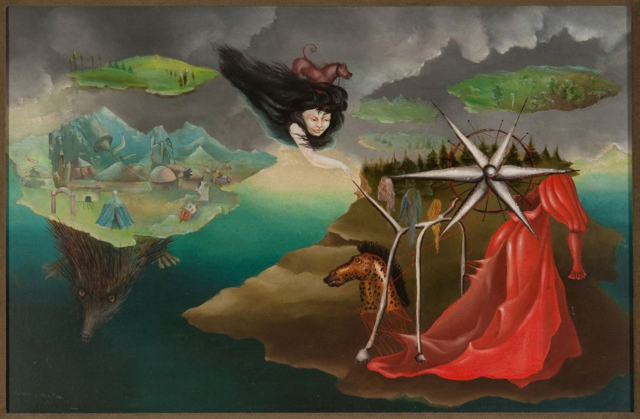 Artes 110 by Leonora Carrington, 1942. Oil on canvas, 50 x 90 cm. NSU Art Museum, Fort Lauderdale, FL.