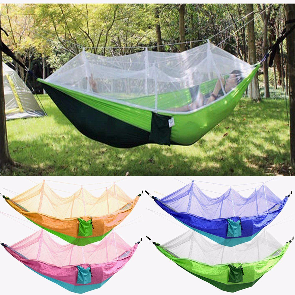 Outdoor Mosquito Net Double Hammock Hanging Swing Bed Parachute ...
