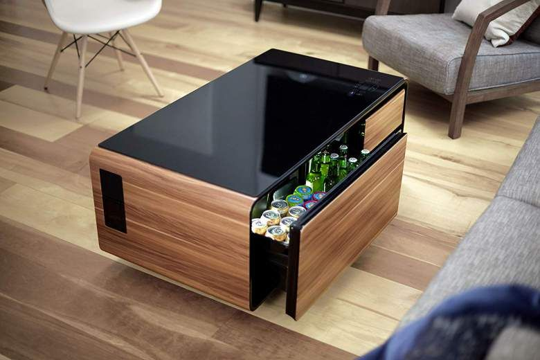 Sobro Coffee Table With Refrigerator Drawer Bluetooth Speakers Led Lights Usb Charging Coffee Table Coffee Table Refrigerator Furniture