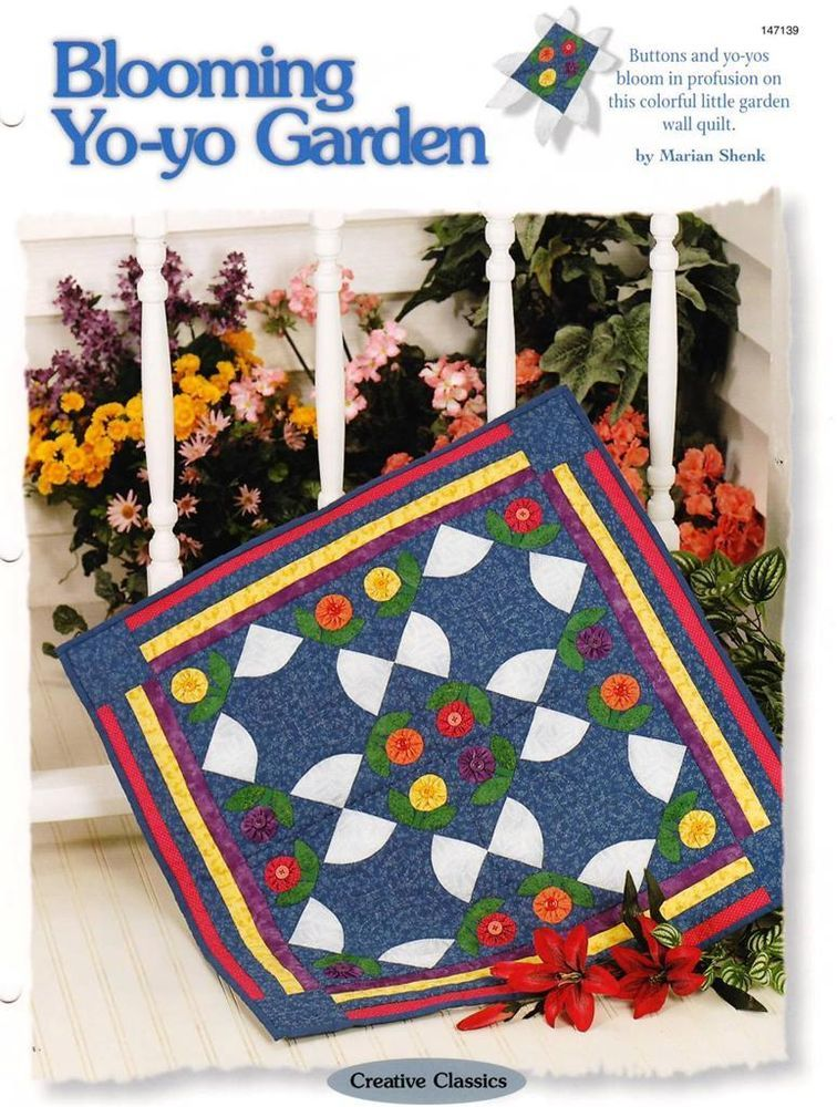 Blooming Yo-yo Garden  Wall Quilt Pattern Leaflet w/ Flexible Plastic Templates
