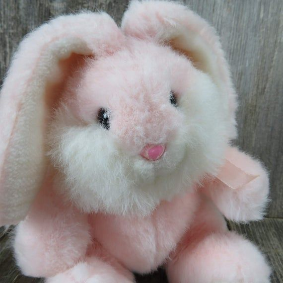 Vintage Pink Bunny Plush Rabbit Stuffed Animal Pink Nose Korea Easter Toy Doll 8 Inch Mervyns #bunnyplush
