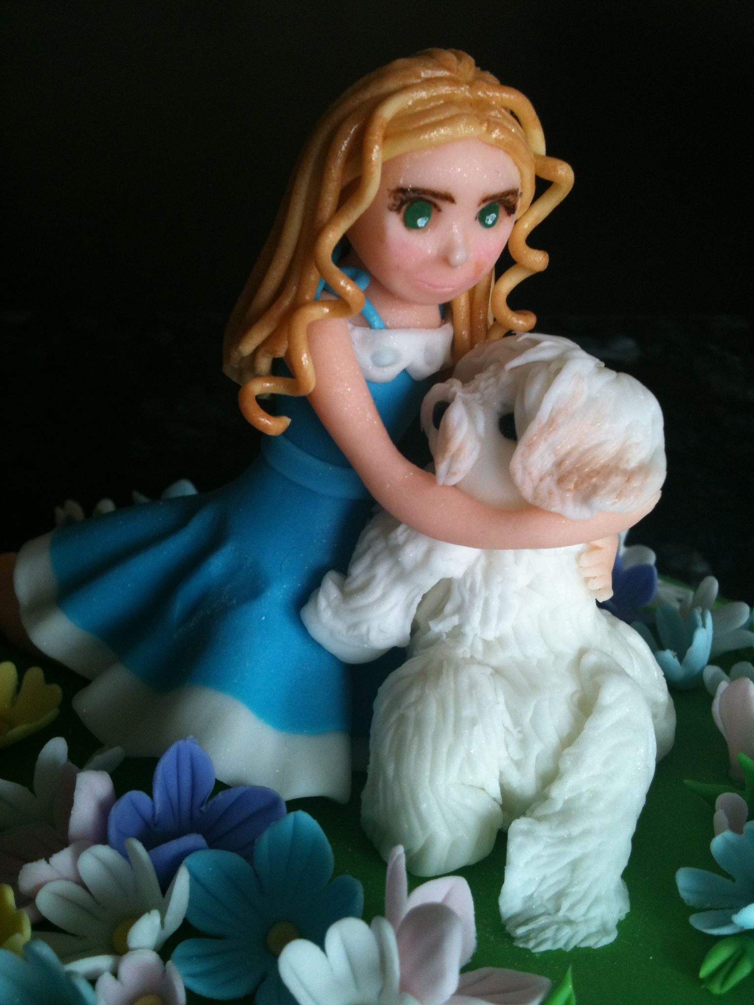 A girl w her puppy cake topper satokous cakes pinterest puppy