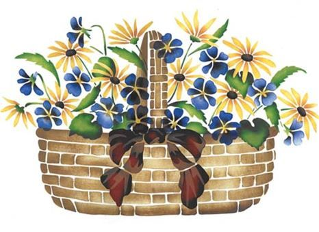 Large Violet and Daisy Basket Wall Stencil