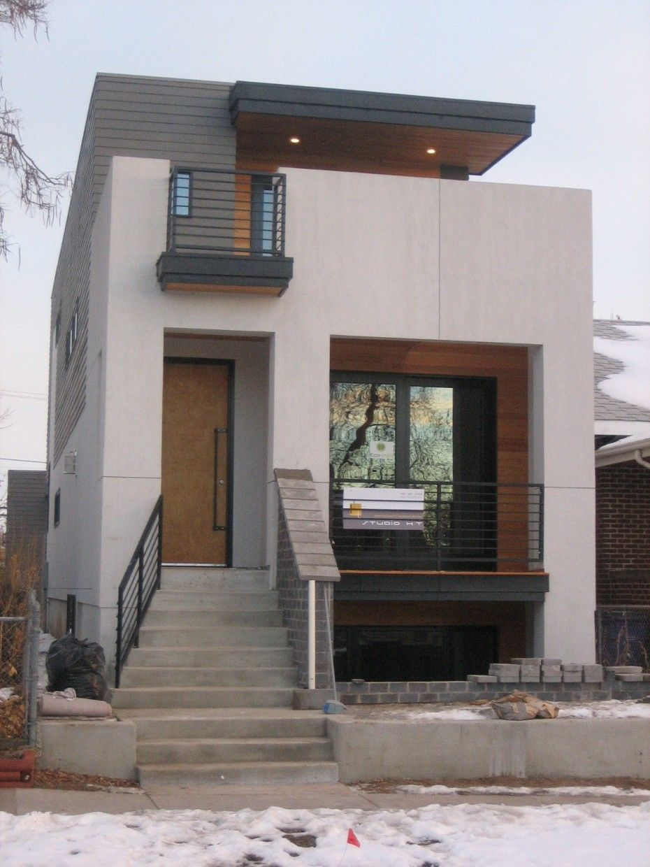 Brown Wooden Door With Glass Window And Cement Porch Stair And Black Iron Fence For Modern Hous Minimalist House Design Small House Exteriors Small Modern Home