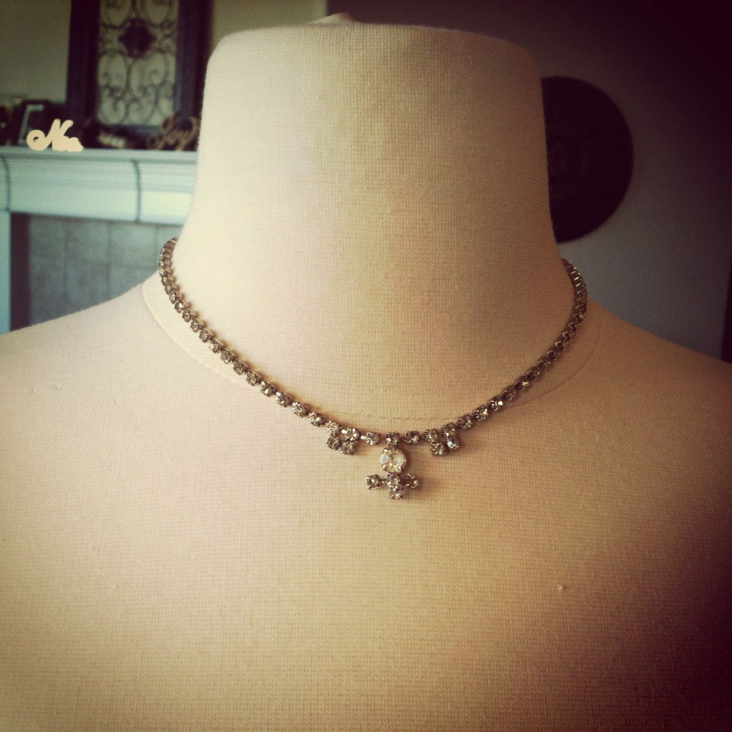 Vintage Rhinestone Choker Necklace - Feminine and Classy Necklace. $30.00, via Etsy.