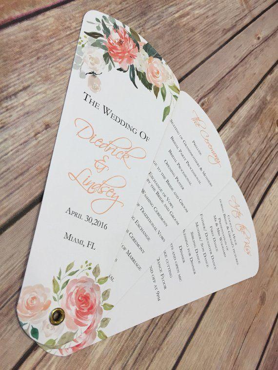 Wedding Program Fans Petal Fan Programs Peaches And Cream