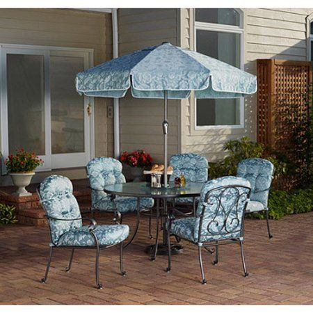 Willow Springs 6 Piece Grey Patio Dining Set with Blue Cushions Seats 5 ** Click the VISIT button to view the swimwear details