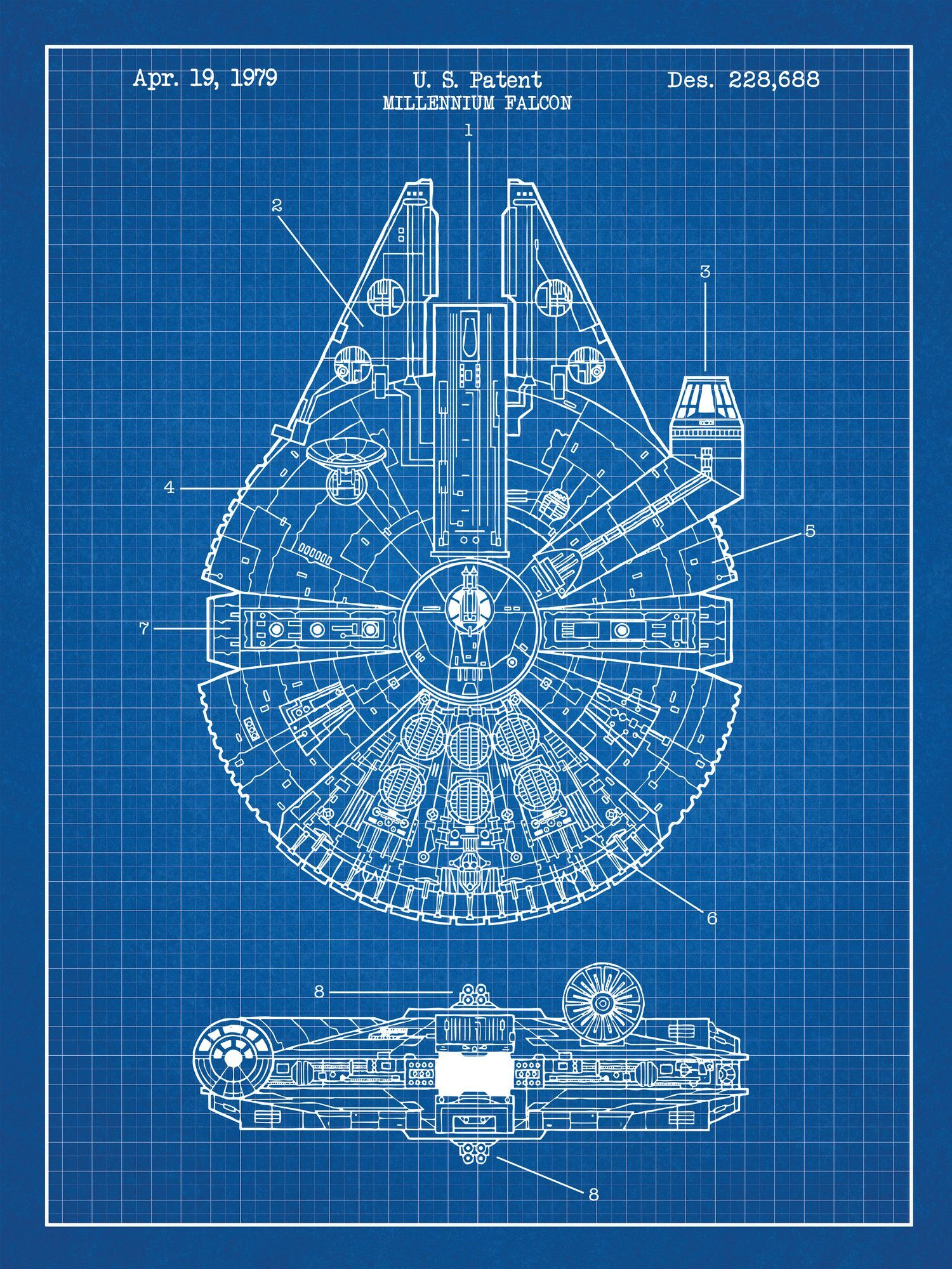 Star Wars Millennium Falcon Blueprint Graphic Art Poster in Blue ...