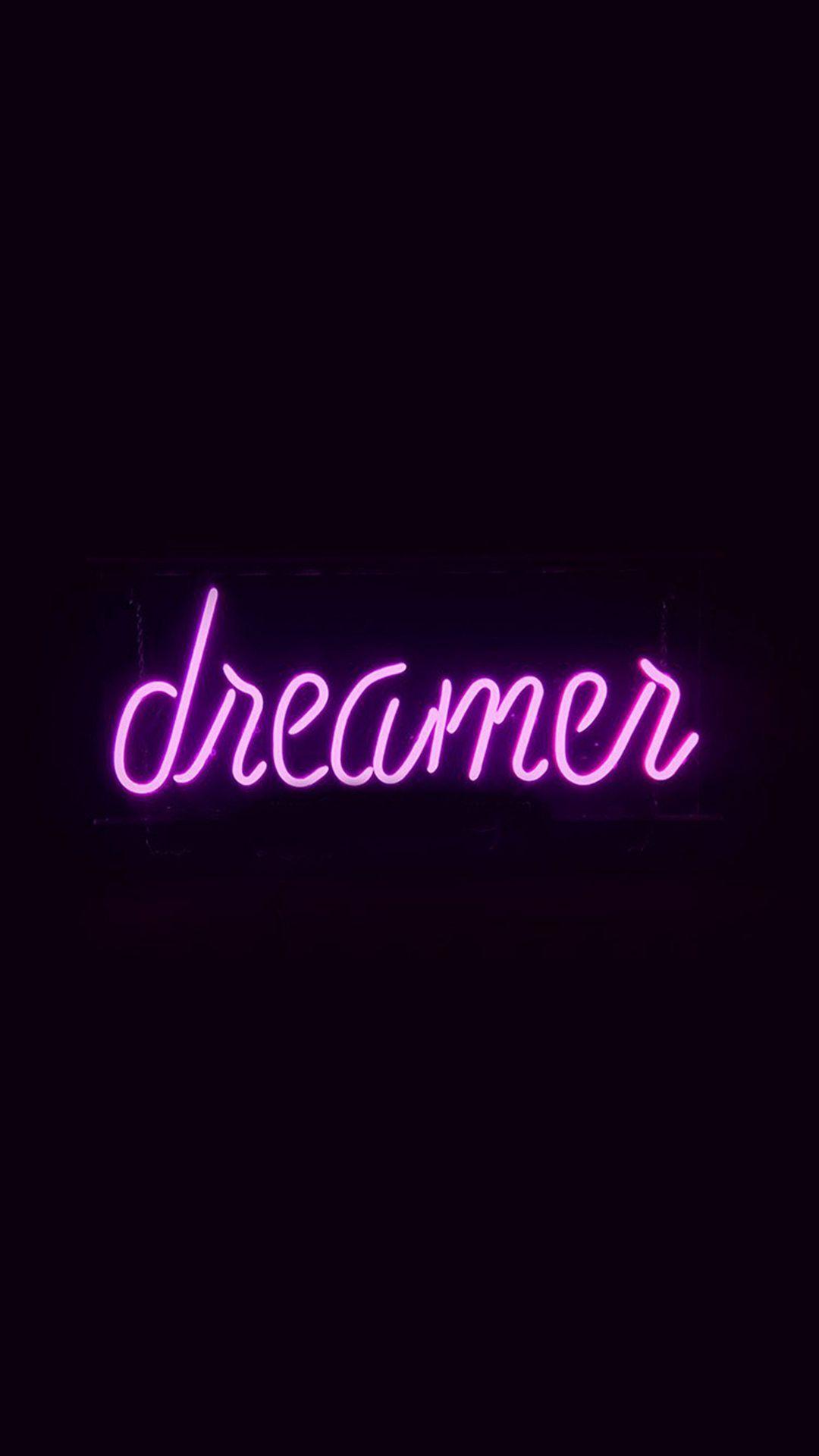Dreamers Neon Sign Dark Illustration Art Purple Iphone  Wallpaper