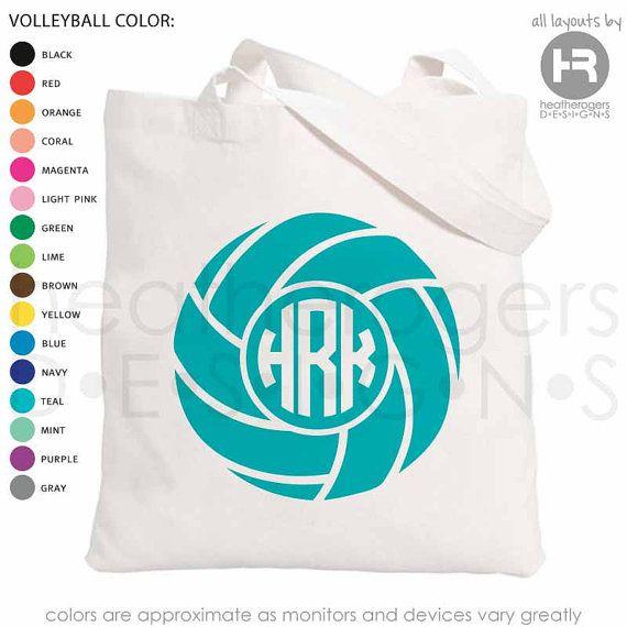 Monogram Volleyball Bag - Monogrammed Canvas Tote Bag - Volleyball Summer  Soccer Camp Bag - Volleyball Gift bc0f9da9bcf6d