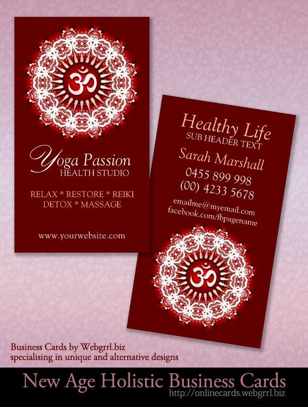 Yoga Om Symbol Deep Red New Age Business Cards | Business cards, Om ...
