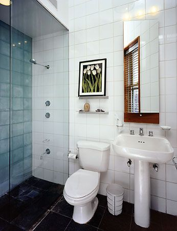 shower kits for small spaces | Small white-tiled remodeled bathroom ...