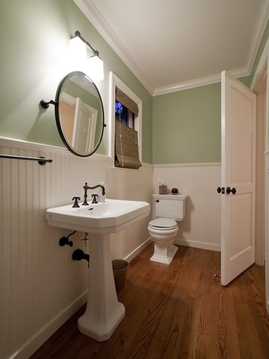 Wainscoting Paneling Pedestal Sink Round Mirror Pour Chez Moi Pinterest Wainscoting