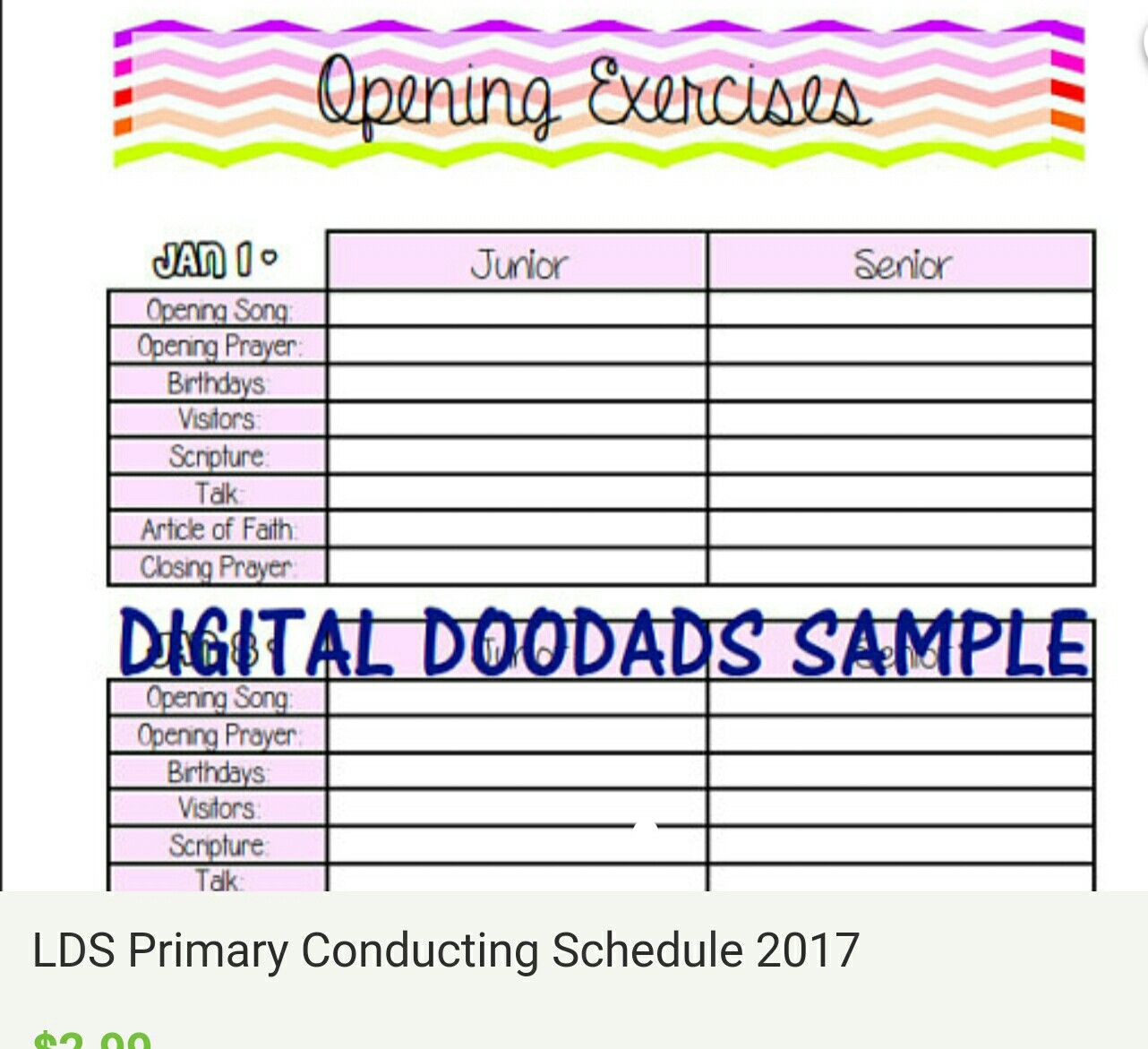 Lds Primary Opening Exercises Template