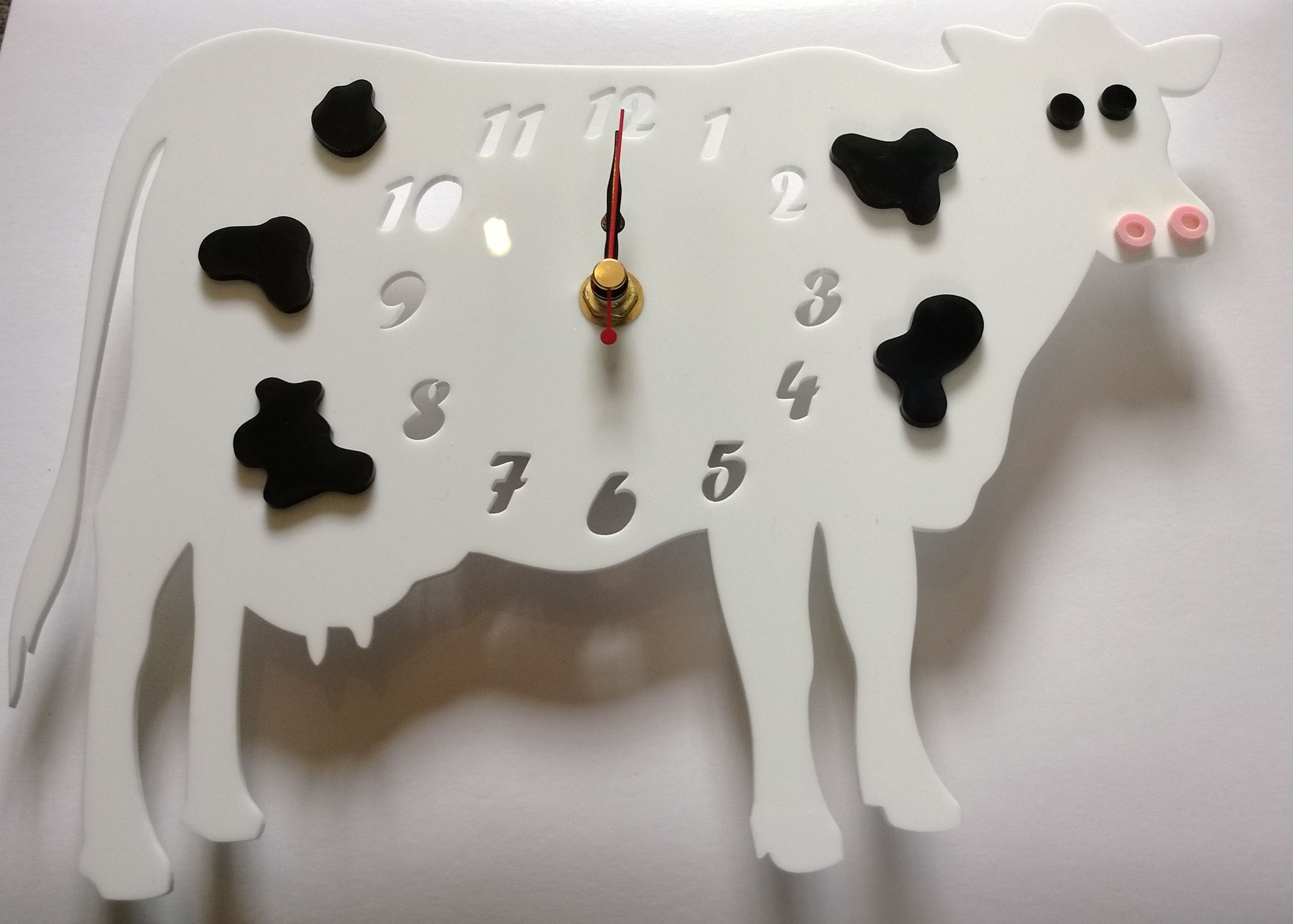 Handmade laser cut acrylic 'Collin The Cow' clock. Deigned and laser cut in Pembrokeshire, South West Wales!