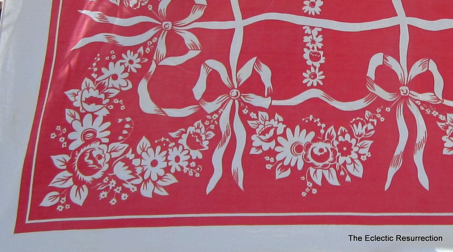 Vintage 1940s-1950s Tablecloth-Cotton Printed Floral Tablecloth Red and White 62x48. $18.00, via Etsy.