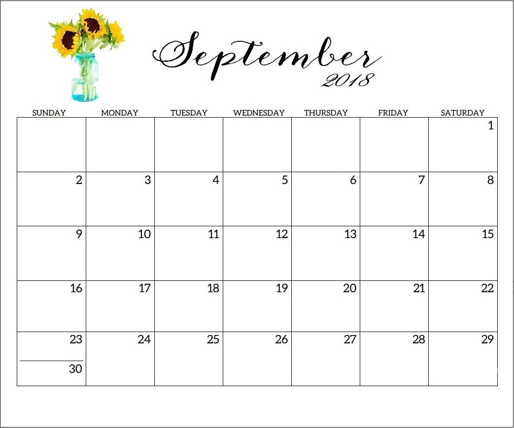 free printable september 2018 wall calendar