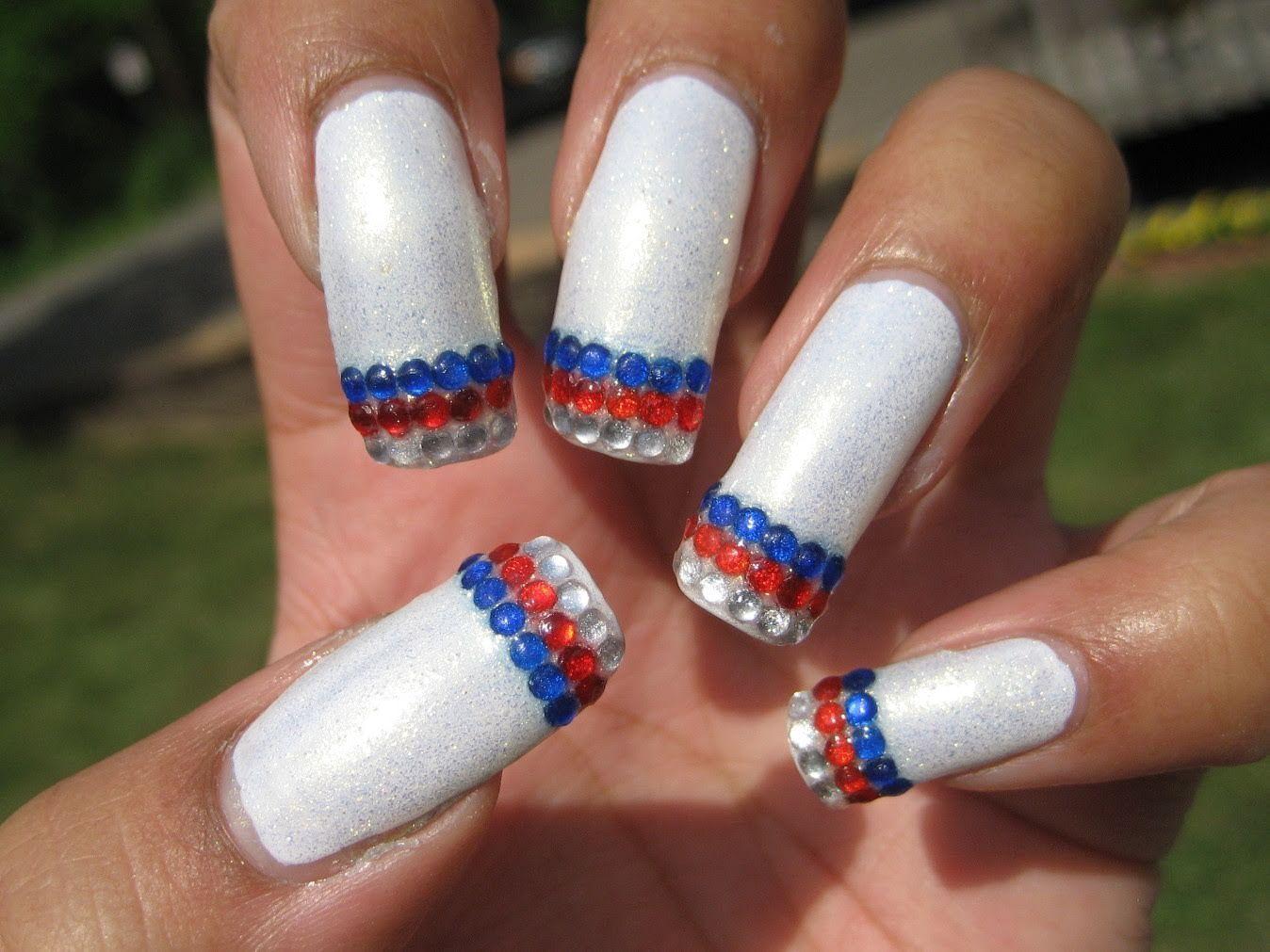 4th of july rhinestone french nail art tutorial french