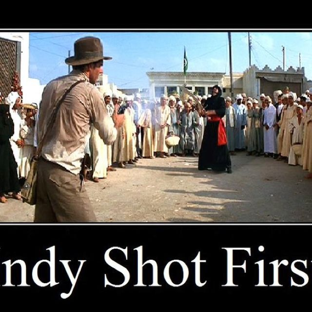 "I'm sure this is supposed to say ""Indy Shot First."" =P lol"