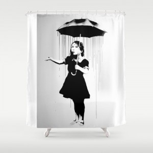 Banksy Nola Girl With Umbrella Banksy Poster Bw Shower Curtain