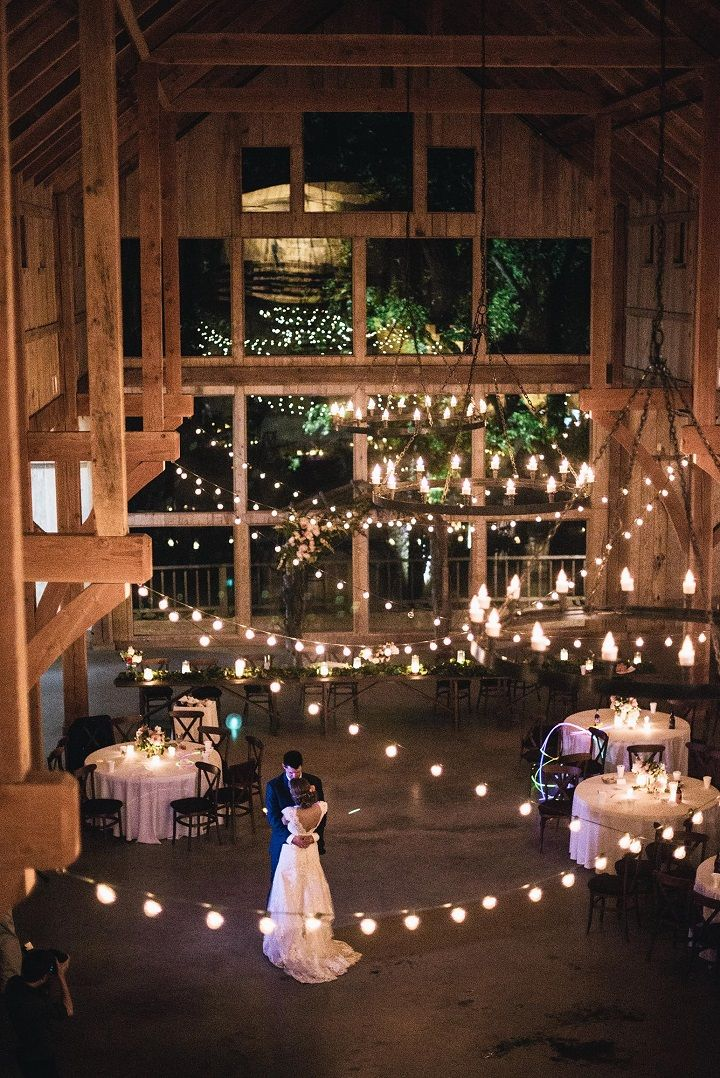 Cozy and romantic wedding decor with hanging lights