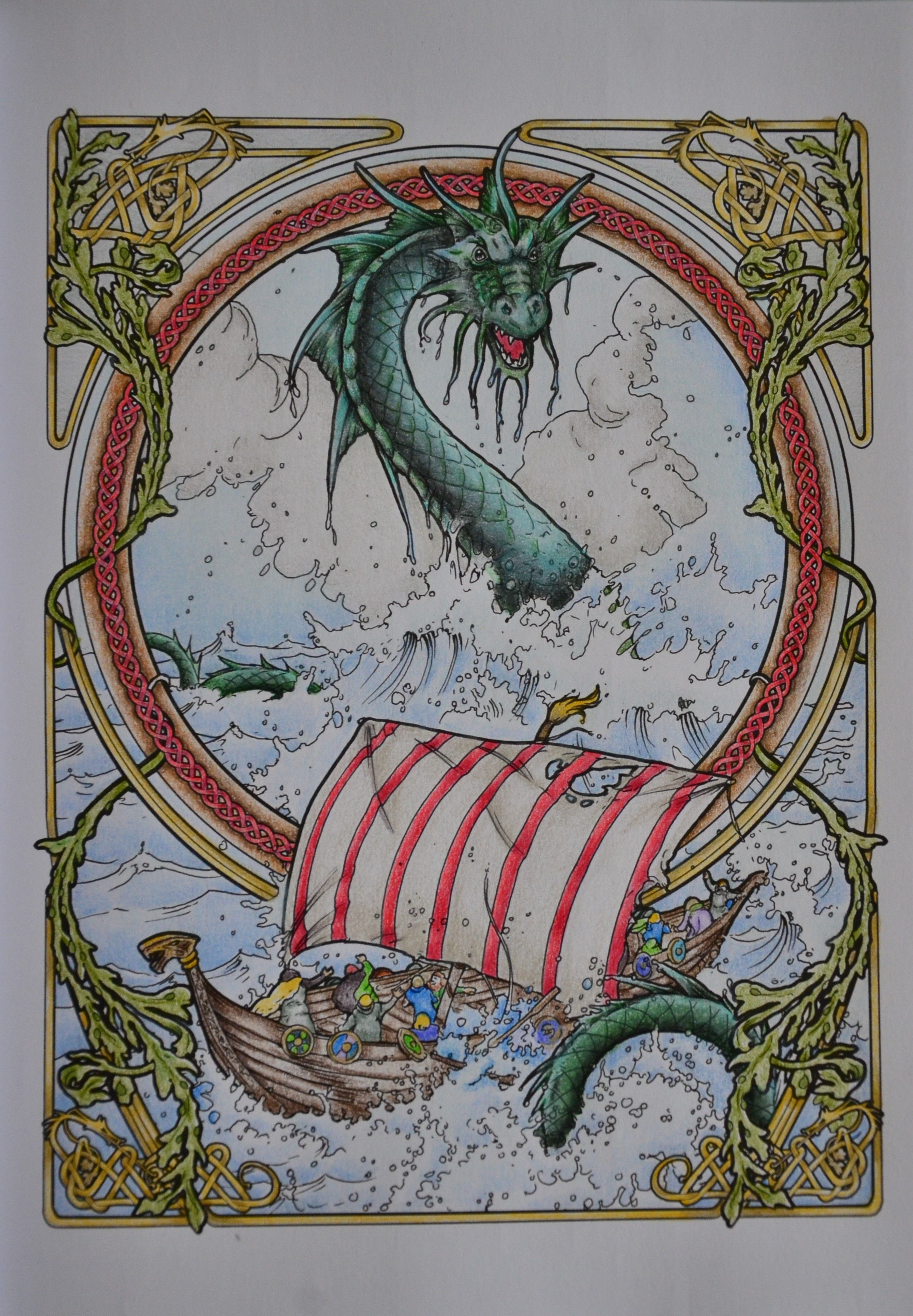 49 From Herb Leonhard In Colouring Heaven Dragon Viking Ship Colored With Prisma Colors 14 03 2019 Colouring Heaven Dragon Drawing Coloring Books
