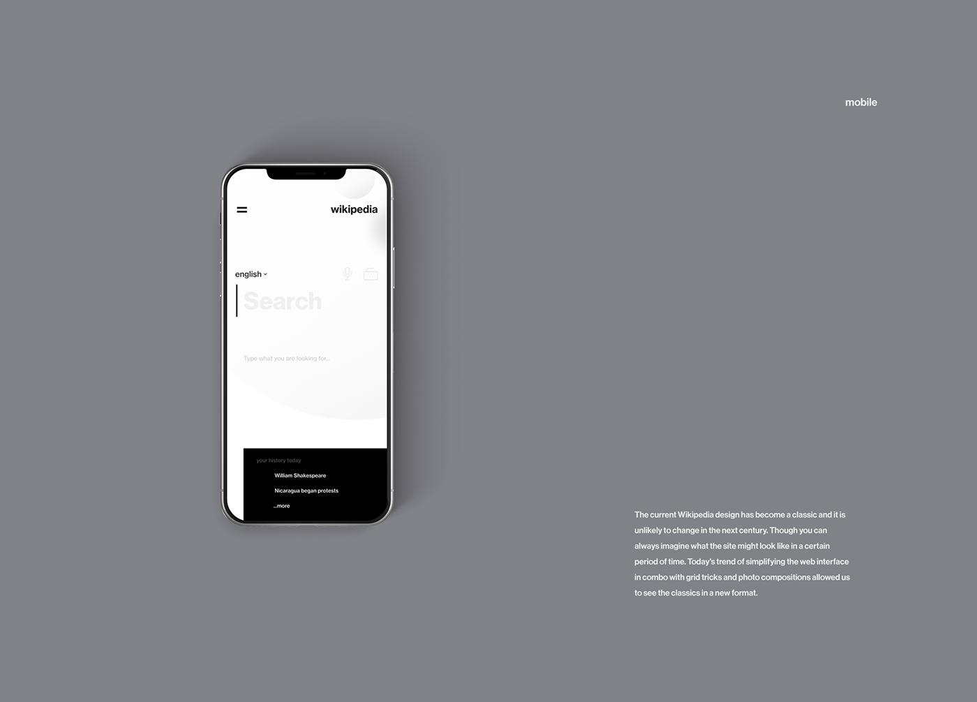 Minimalist Mobile And Desktop Web Design Concept For Wikipedia Web Design Quotes Web Design Web Design Websites