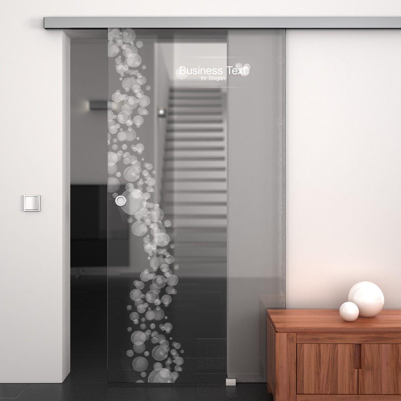 Schiebetür gartenhaus beschlag  Glas-Schiebetür Office Bubbles mit eigenem Text und EKU-Beschlag ...