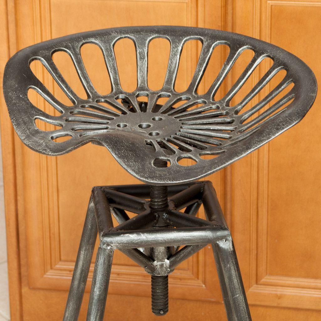 Charlie Industrial Metal Design Tractor Seat Adjustable Bar Stool Black Brushed