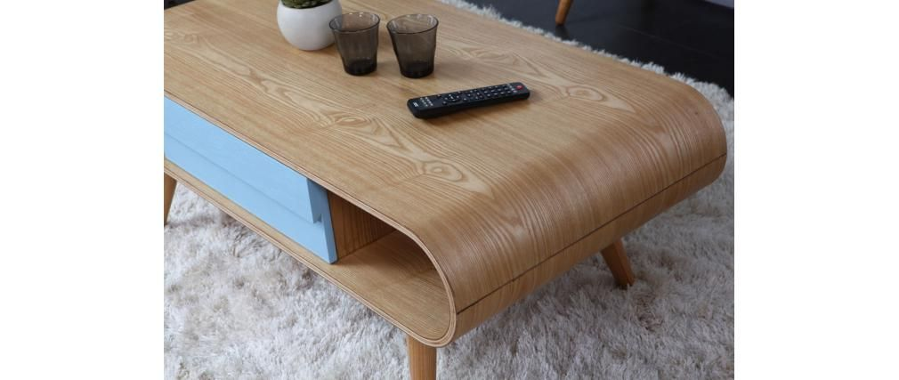 Table basse scandinave bois naturel bleu BALTIK | Table ...