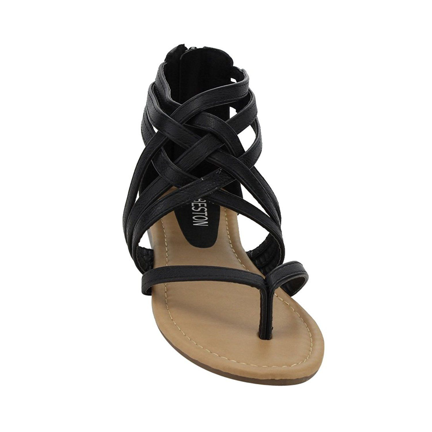 5770b842dbd Beston ID69 Women s Gladiator Caged Strappy Back Zipper Thong Flat Sandal      Check out