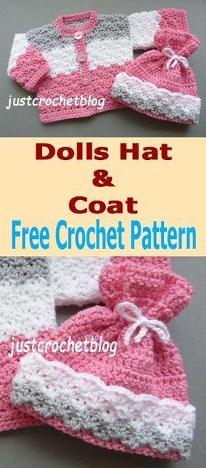 Free Crochet Pattern For Dolls Coat Hat From Justcrochetblog