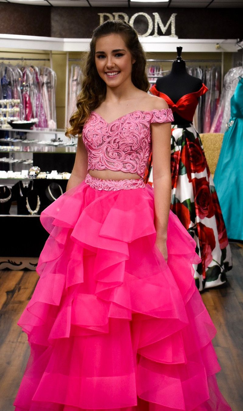 princess two piece long prom dress, 2018 pink prom dress, off the ...