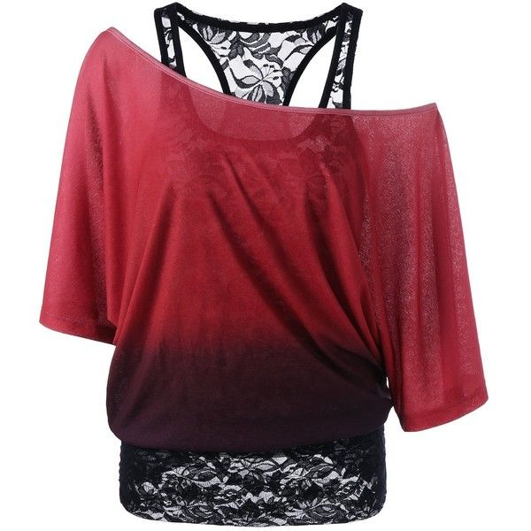26b578cfe97 Cold Shoulder Lace Ombre Top ($22) ❤ liked on Polyvore featuring tops,  shirts, open shoulder shirt, ombre top, cold shoulder shirt, lacy tops and  red lace ...