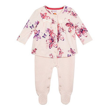 5d365c2737e2 Baker by Ted Baker Baby girls' light pink printed mock romper suit |  Debenhams