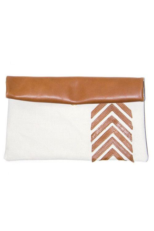 Caramel Chevron Clutch, Sseko Designs, $64 via boutiika.com