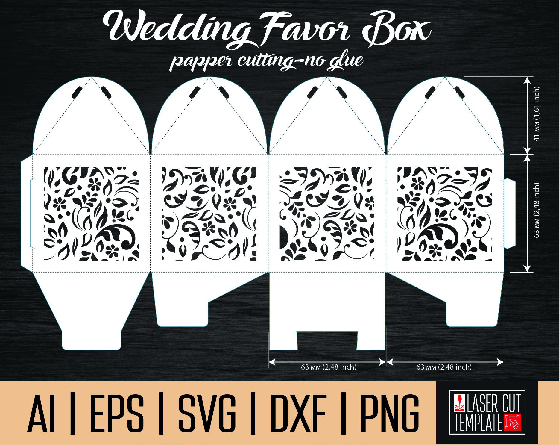 Favor box template. Box template svg. Gift box svg. laser cut boxes ...