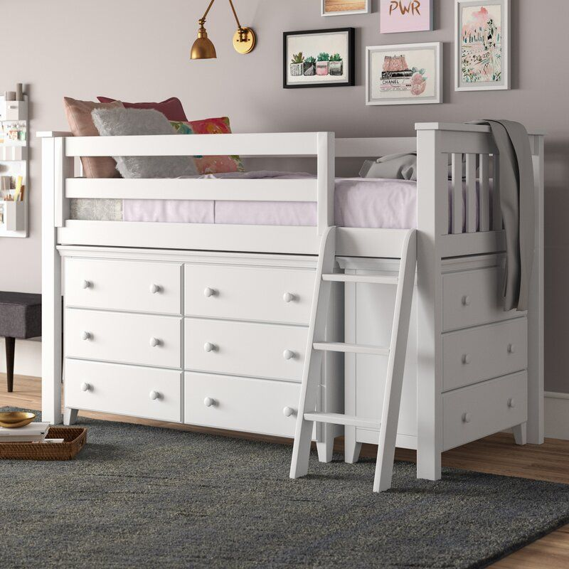 Ginny Twin Low Loft Bed With Drawers In 2020 Low Loft Beds Bed With Drawers Twin Bed With Drawers