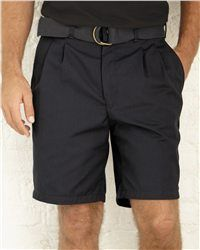 Red Kap - Pleated Front Short - PT34  View Size Specification  Catalog Page: 531    Stay cool and still look professional in these comfortable shorts.        7.25 oz., 65/35 cotton/polyester combed cotton twill      Heavy-duty brass ratcheting zipper and button closures      Two slack-style front pockets, two set-in hip pockets with darts      Double front pleats